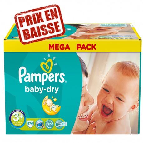 476 Couches pampers baby dry taille 3+ pas cher sur le roi de la couche d1818fca7c15