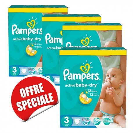 814 Couches pampers active baby dry taille 3 pas cher sur le roi de on